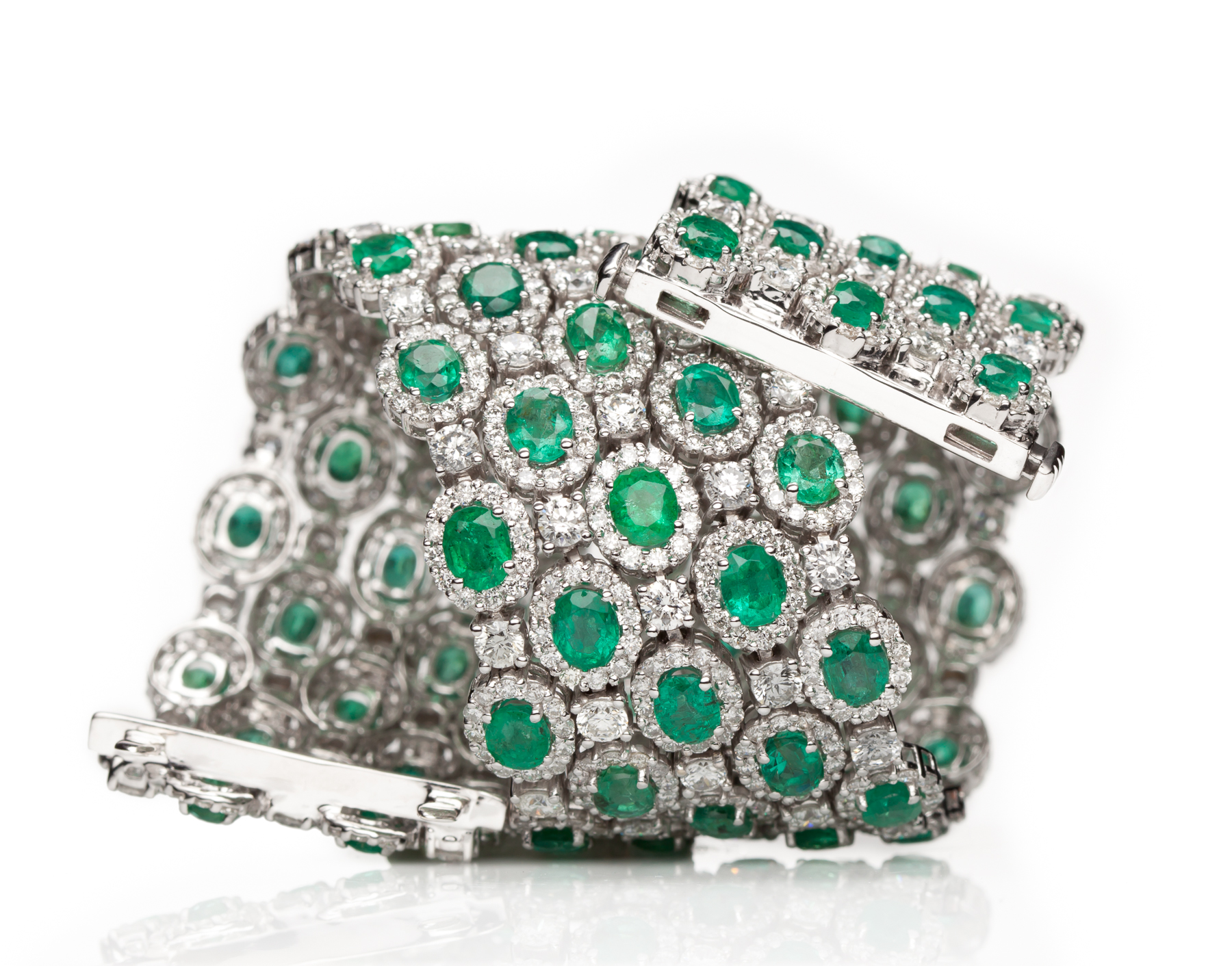 Three Row Emerald and Diamond Bracelet in 19kt White Gold by Kathleen Dughi