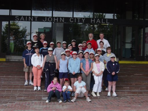 Belfast kids and their Canadian hosts pose for a phot before meeting the mayor of Saint John.jpg