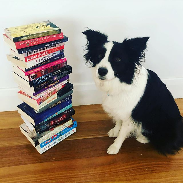 Was tagged by @rachaeljohnsauthor to do my pupper's height in books and these are some faves #harrietpotts #authorsofinstagram #books #bordercolliesofinstagram