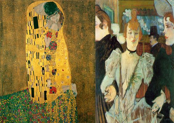 Gustav Klimt's The Kiss (1907) / Toulouse-Laurtrec's La Goulue (1891)
