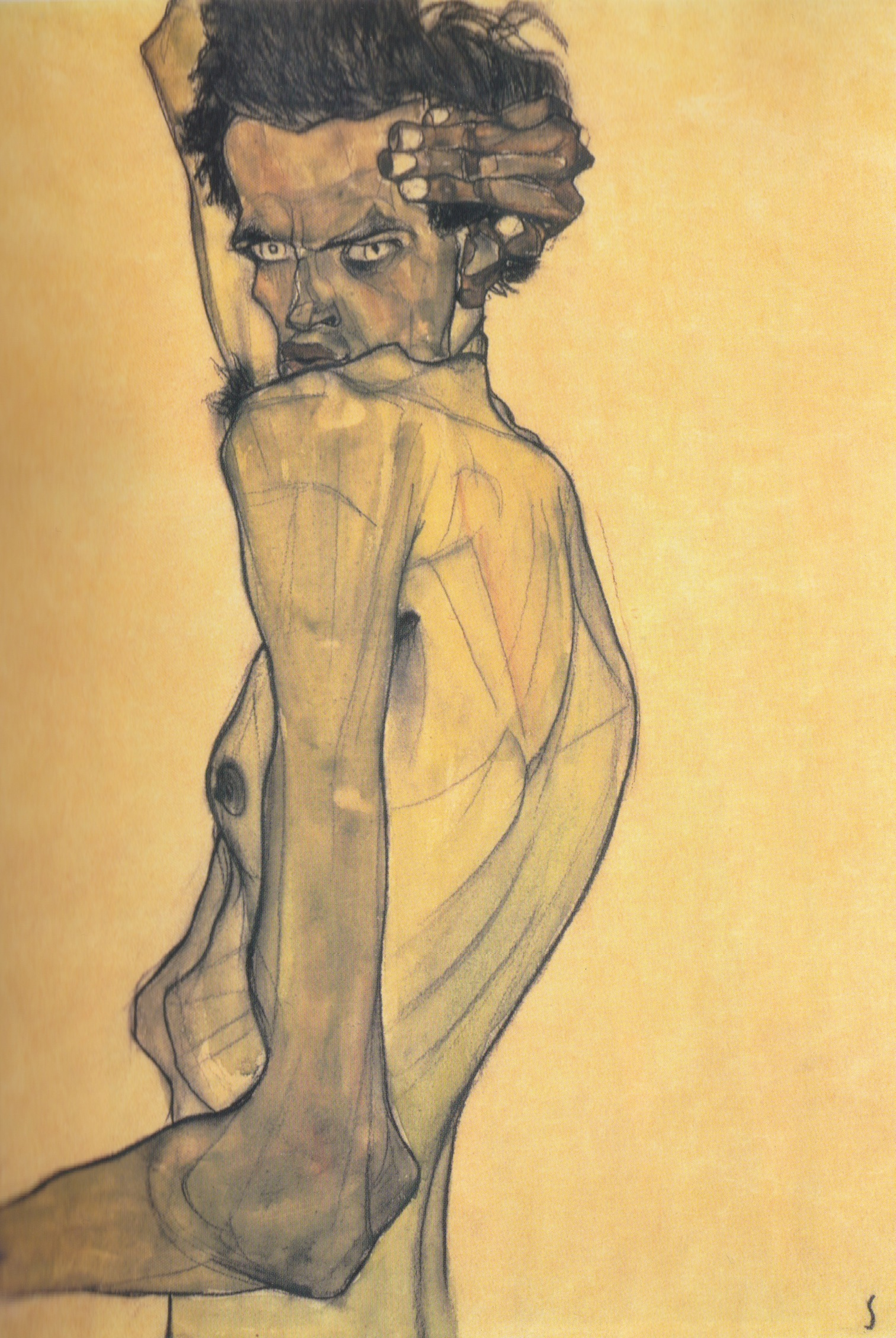 Self Portrait with Arm Twisting Above Head (1910)