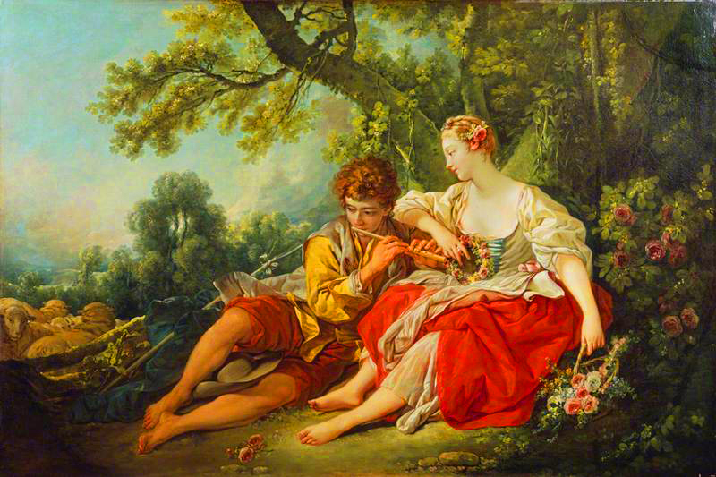 Shepherd Piping to a Shepherdess    by  François Boucher  |   The Wallace Collection, London UK