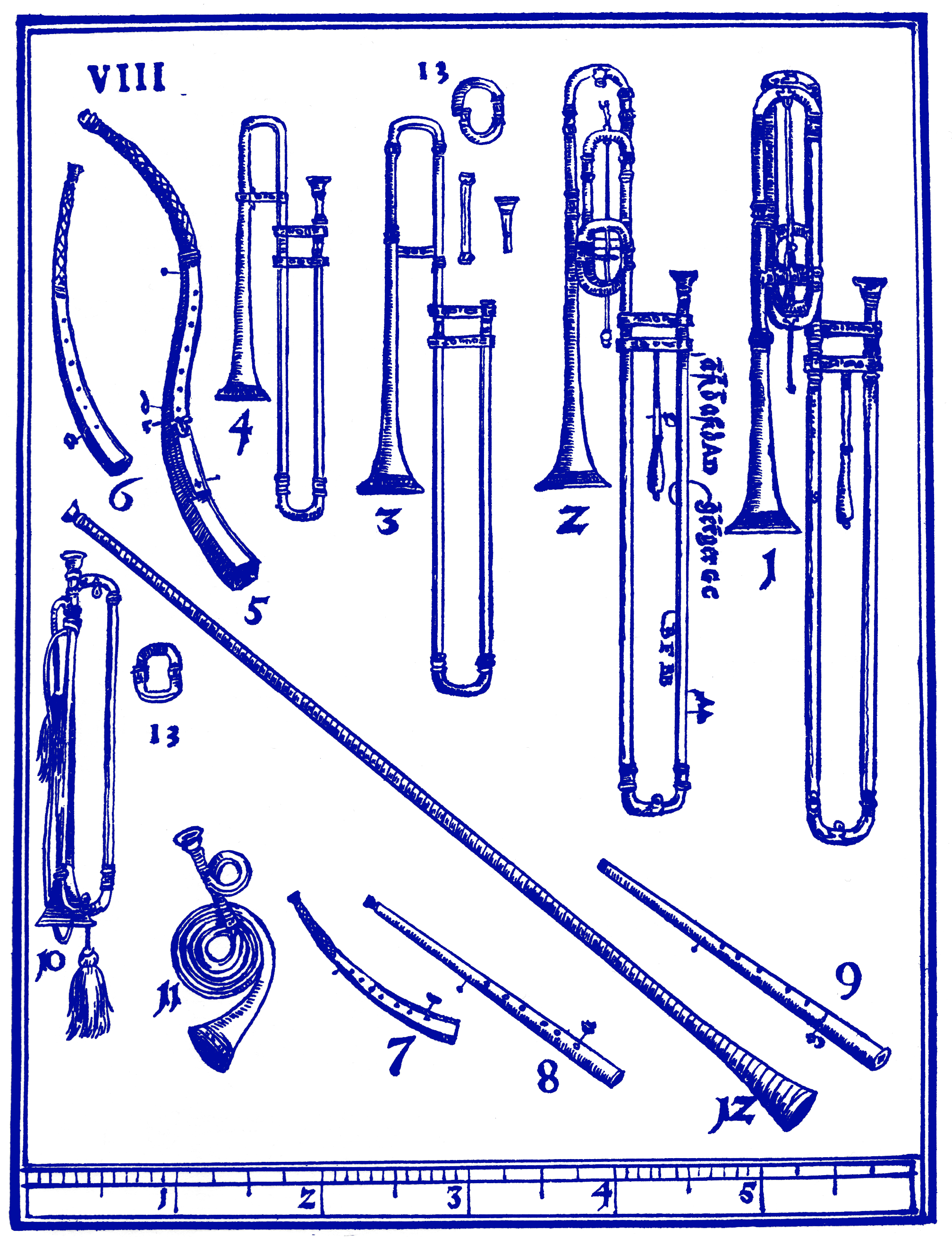 Check out the shots of the sackbuts (#1-4), alongside trumpets and cornetti.From  Syntagma Musicum  (1614-20)by Michael Praetorius.