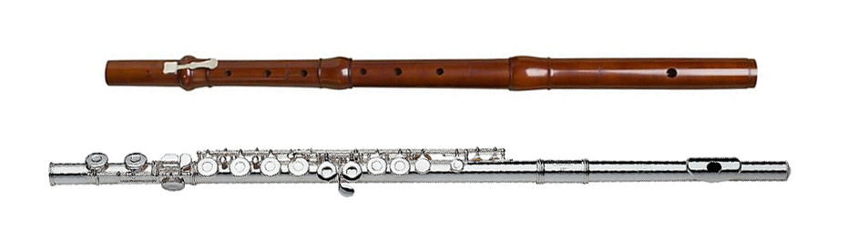 Traverso (top) and modern flute (bottom)