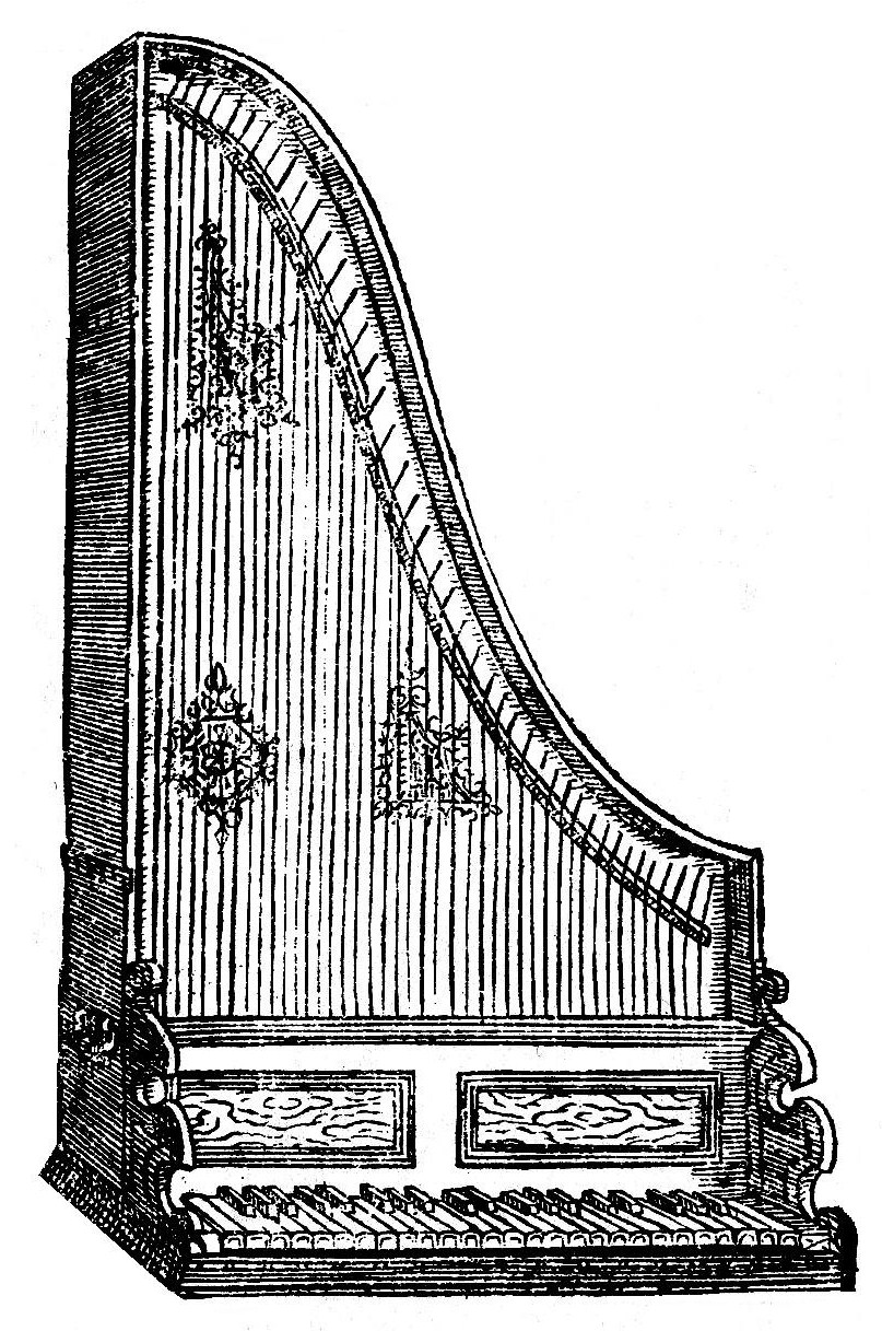 The clavicytherium, an upright version of a harpsichord, found in Praetorius's  Syntagma Musicum.