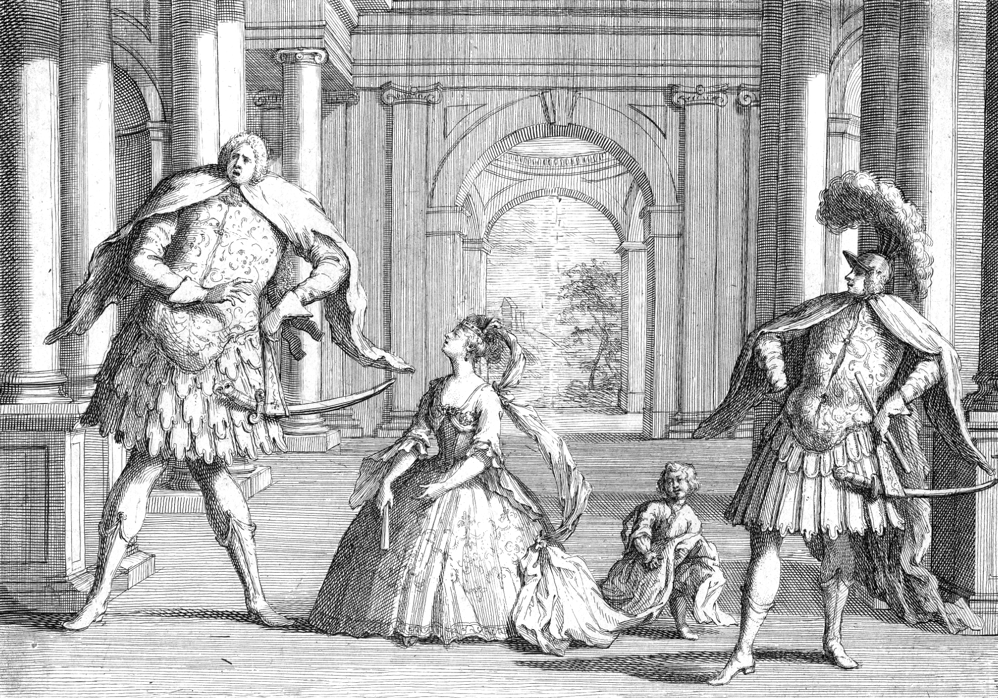 A famous sketching of the castrati Senesino (far left) and Berenstadt (far right) performing in Handel's opera, Flavio.The poor soprano, Francesca Cuzzoni, was dwarfed not only by their stature, but probably their egos!