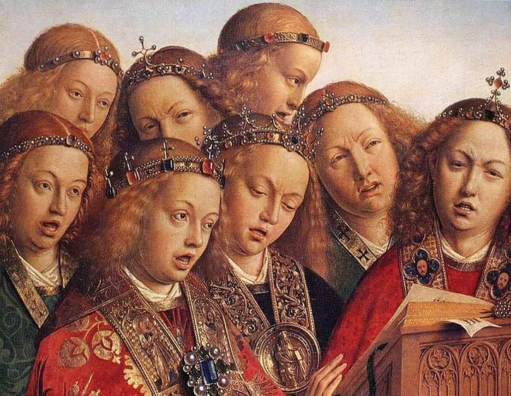 Panel from the  Ghent Altarpiece  (15th cent.) shows angels singing. Or suffering from migraines. Maybe both.