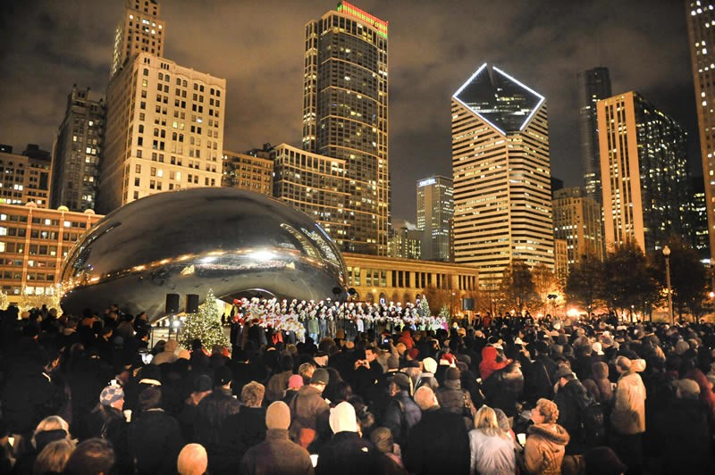 """The city of Chicago hosts mass caroling at Cloud Gate (""""The Bean"""") every December."""