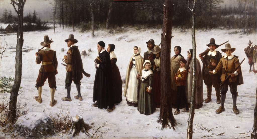 Pilgrims Going to Church is a painting by George Boughton (1833-1905). Note the absence of Christmas trees, snowmen, and Rudolph.