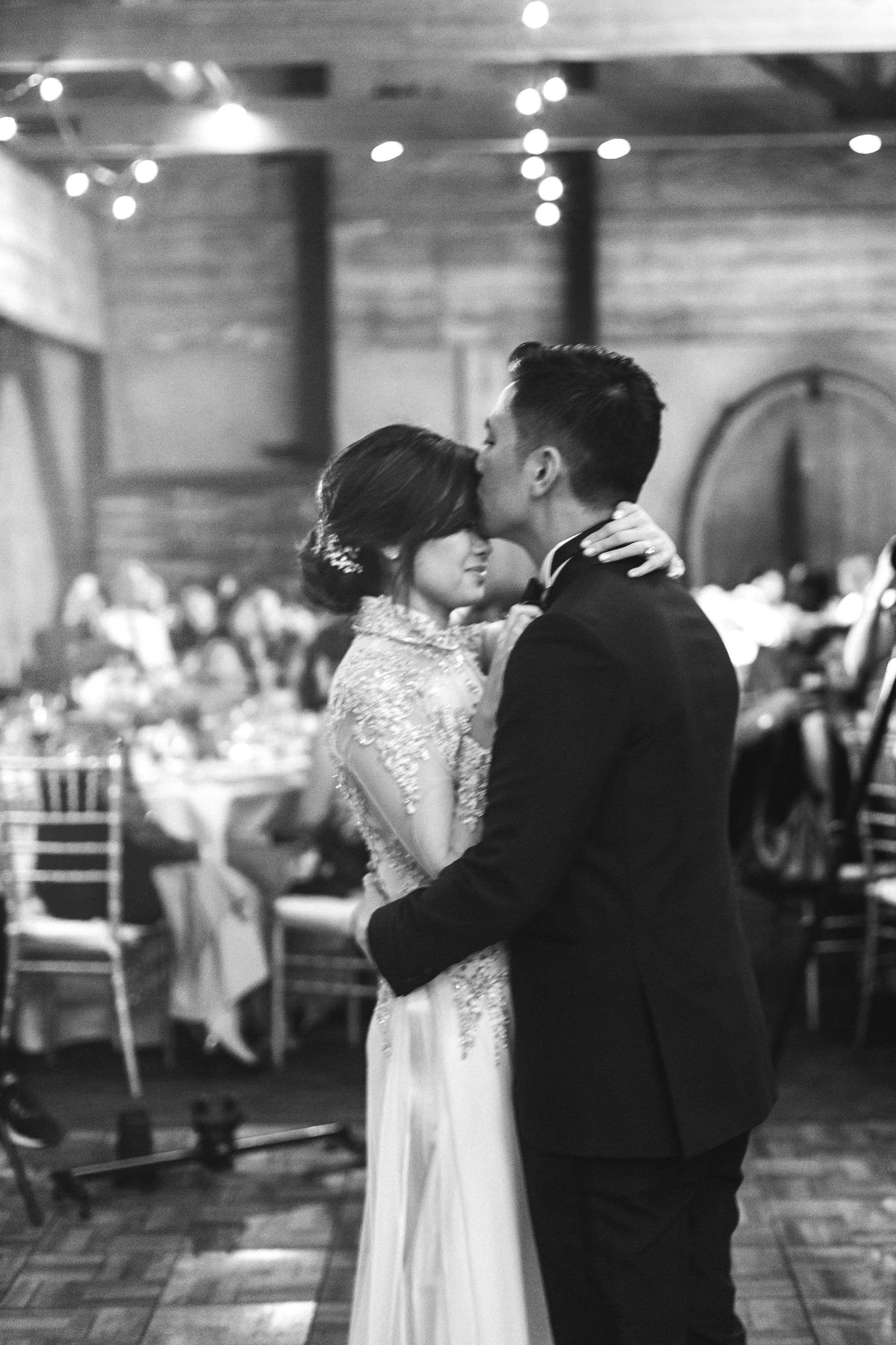 Black and white reception - Fine art film photographer - California Winery Wedding Photographer