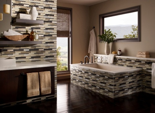 (1) elume, Boardwalk Linear Glass Slate Blend Mosaic
