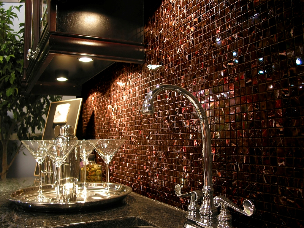 Iridescent Brown Glass 3/4 x 3/4 Mosaic