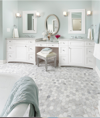 "White Carrara (Italian) 2"" Hexagon Mosaic"