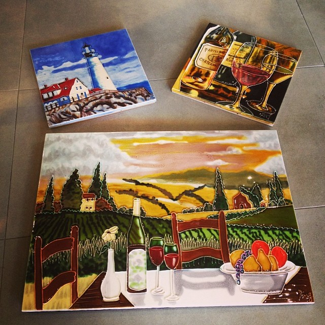 Easiest way to enjoy a beautiful #lighthouse view or escape with your favorite glass of #wine on a gorgeous #vineyard! Come by this weekend to finish your Christmas shopping right and pickup a #decorativetile to hang on the wall or display on a counter!