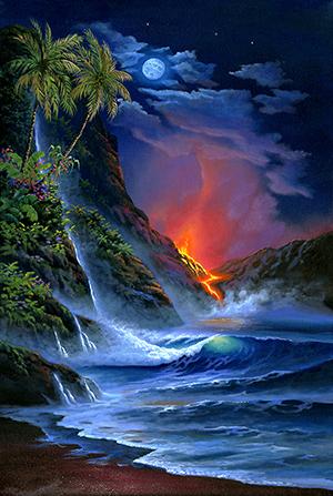 """""""Volcano Glory"""" 24"""" X 36""""  Retail Price $1,080.00 Opening Bid $600.00"""