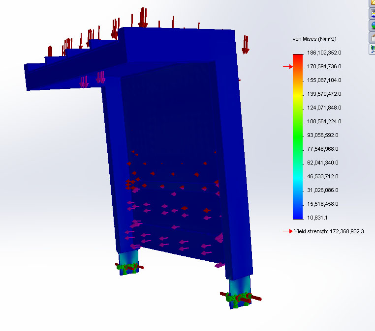- Finite Element Analysis is undertaken using CAD to test snow and wind loads of a cantilever shelter. Results are then reviewed with a structural engineer if required.