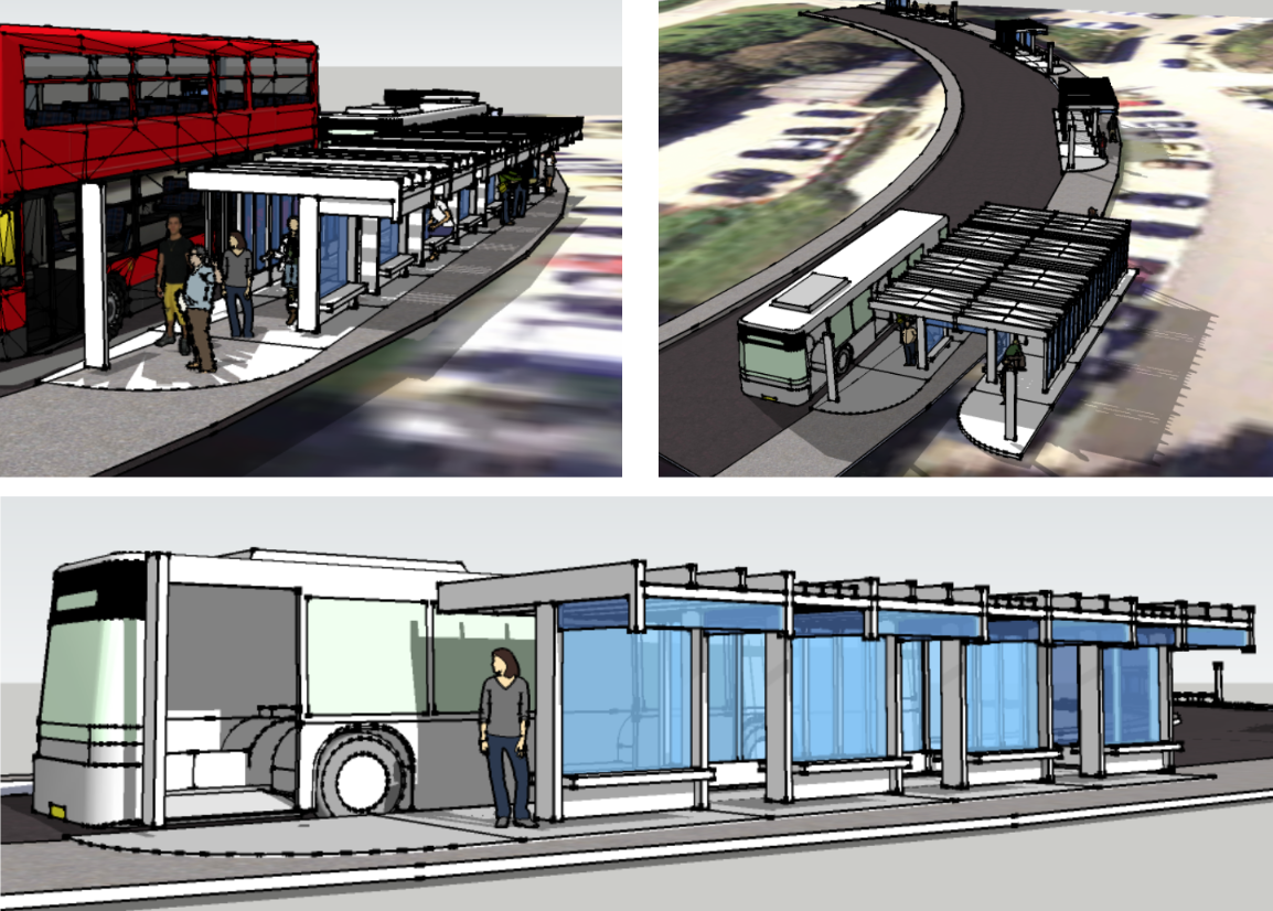 Concept drawing of Natural Shelter's modular build system being applied to a University bus terminal serving around one hundred users at peak times.