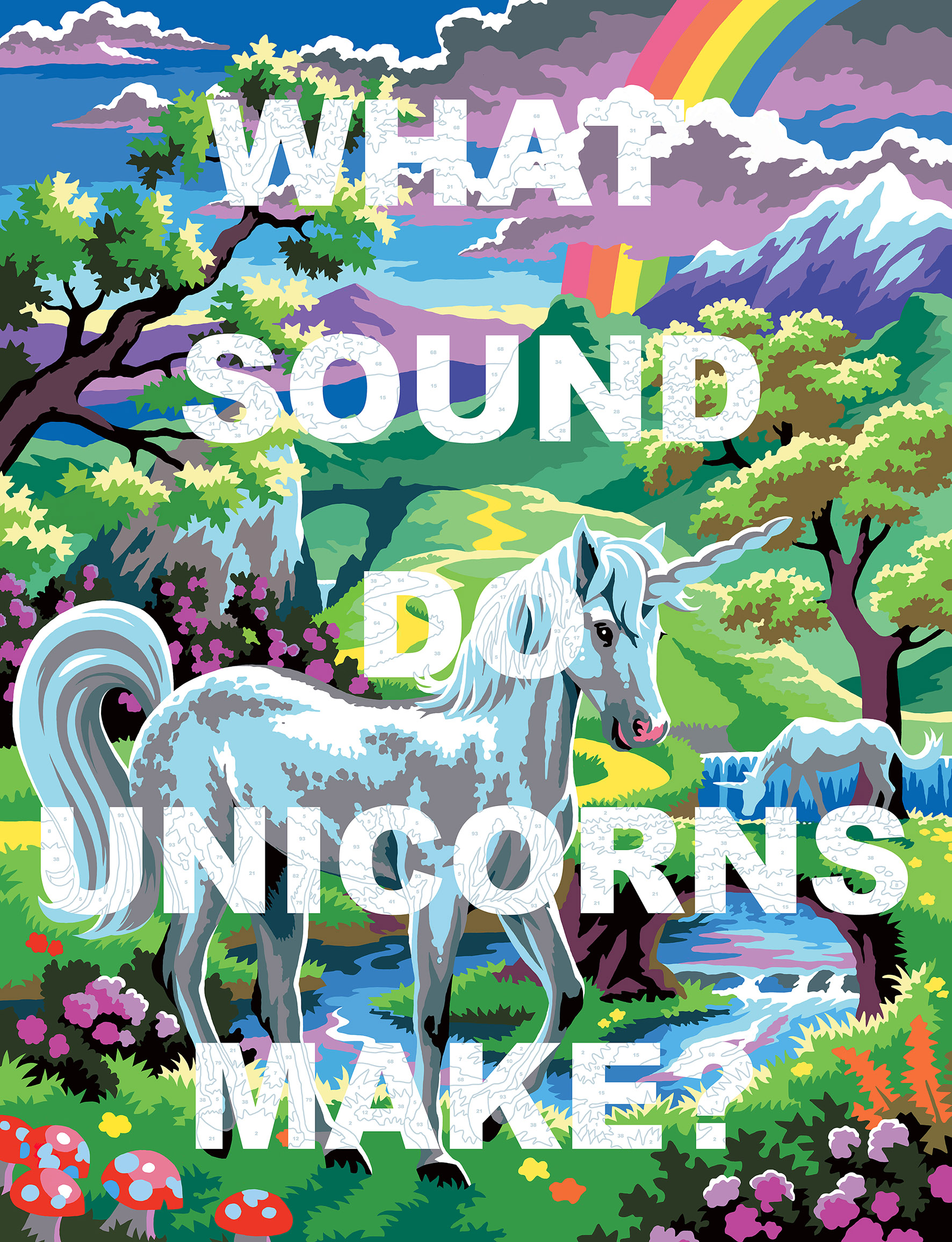 What Sound Do Unicorns Make?   Enamel gloss paint on canvas  100 x 130 cm   2018  This image is also available as a limited edition print. Please visit the website's shop for more information.