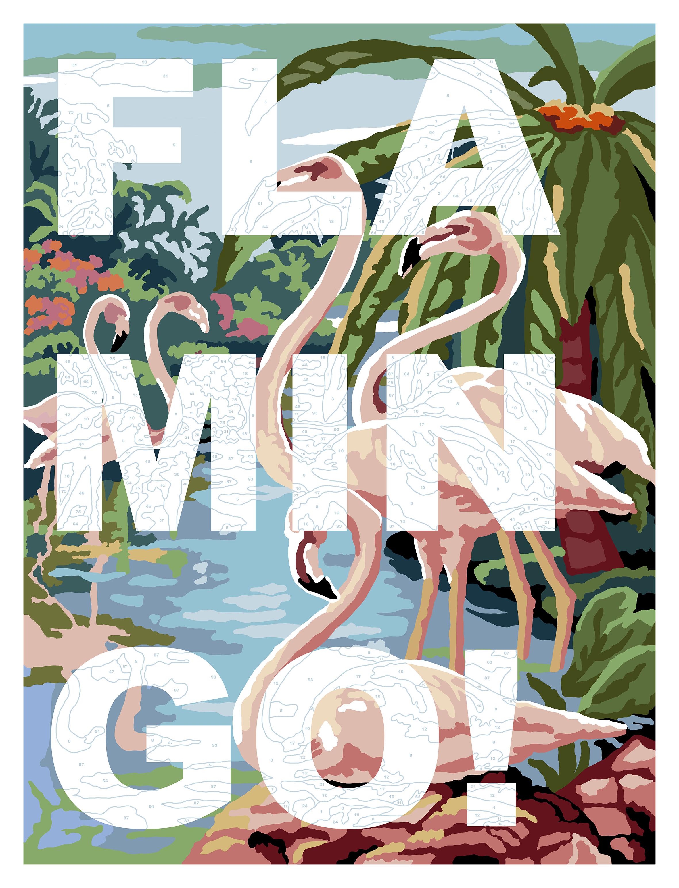Flamingo!   Enamel gloss paint on canvas  100 x 130 cm  2017  SOLD