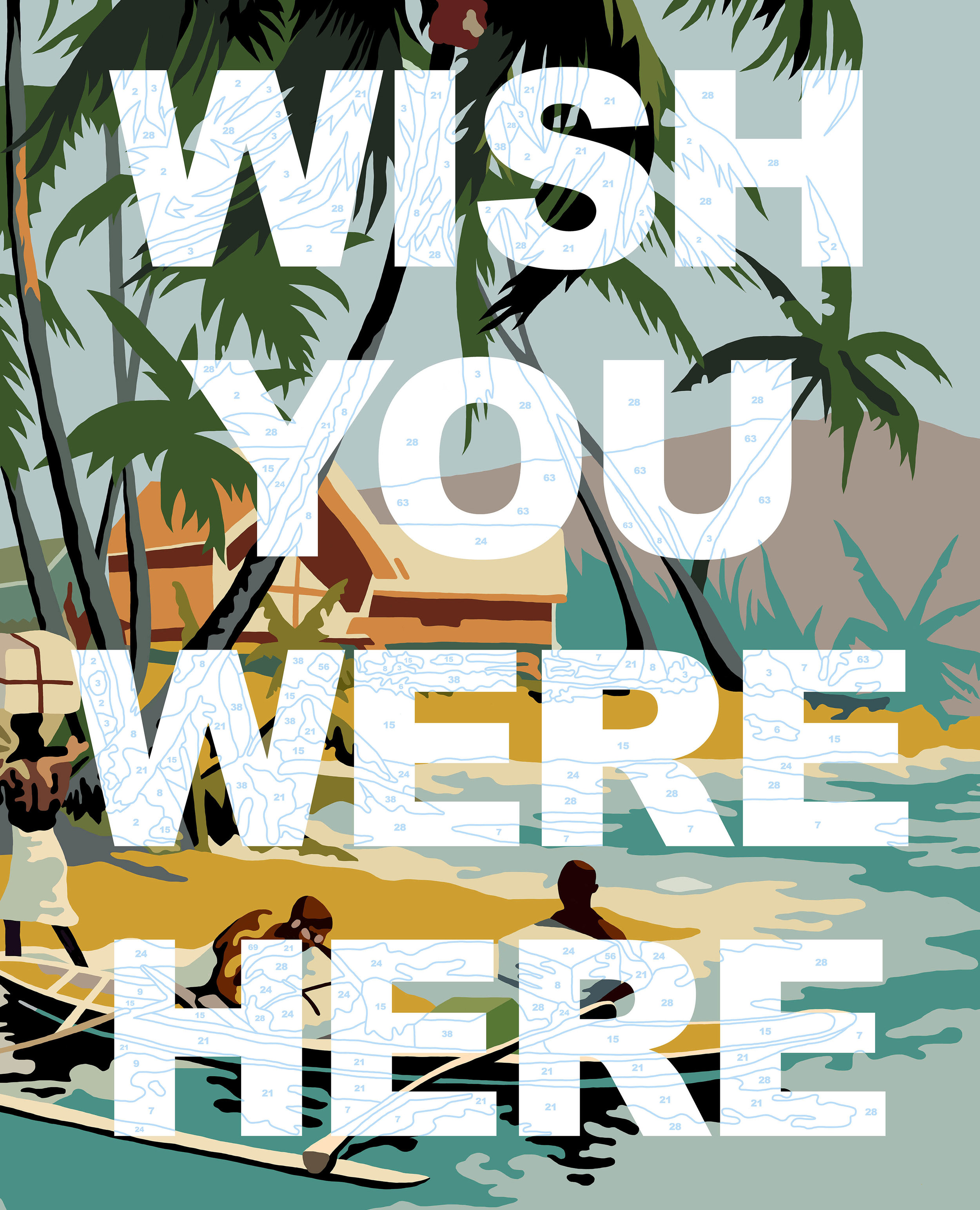 Wish You Were Here II   Enamel gloss paint on canvas  90 x 115 cm  2018  SOLD  This image is also available as a limited edition print. Please visit the website's shop for more information.