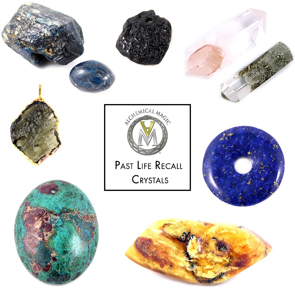 Clockwise from top left:  Apatite, Tektite, Lapis Lazuli, Amber, Chrysocolla, Moldavite