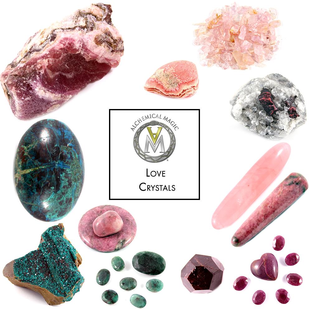 Clockwise from top left:  Cobalto Calcite, Rhodocrosite, Morganite, Garnet, Rose Quartz, Rhodonite, Ruby, Emerald, Dioptase, Chrysocolla