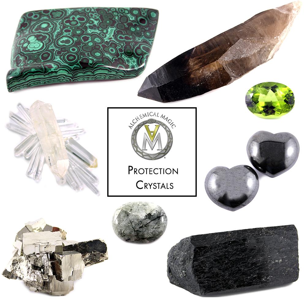 Clockwise from top left:  Malachite, Smoky Quartz, Peridot, Hematite, Black Tourmaline, Tibetan Quartz, Pyrite, Clear Quartz