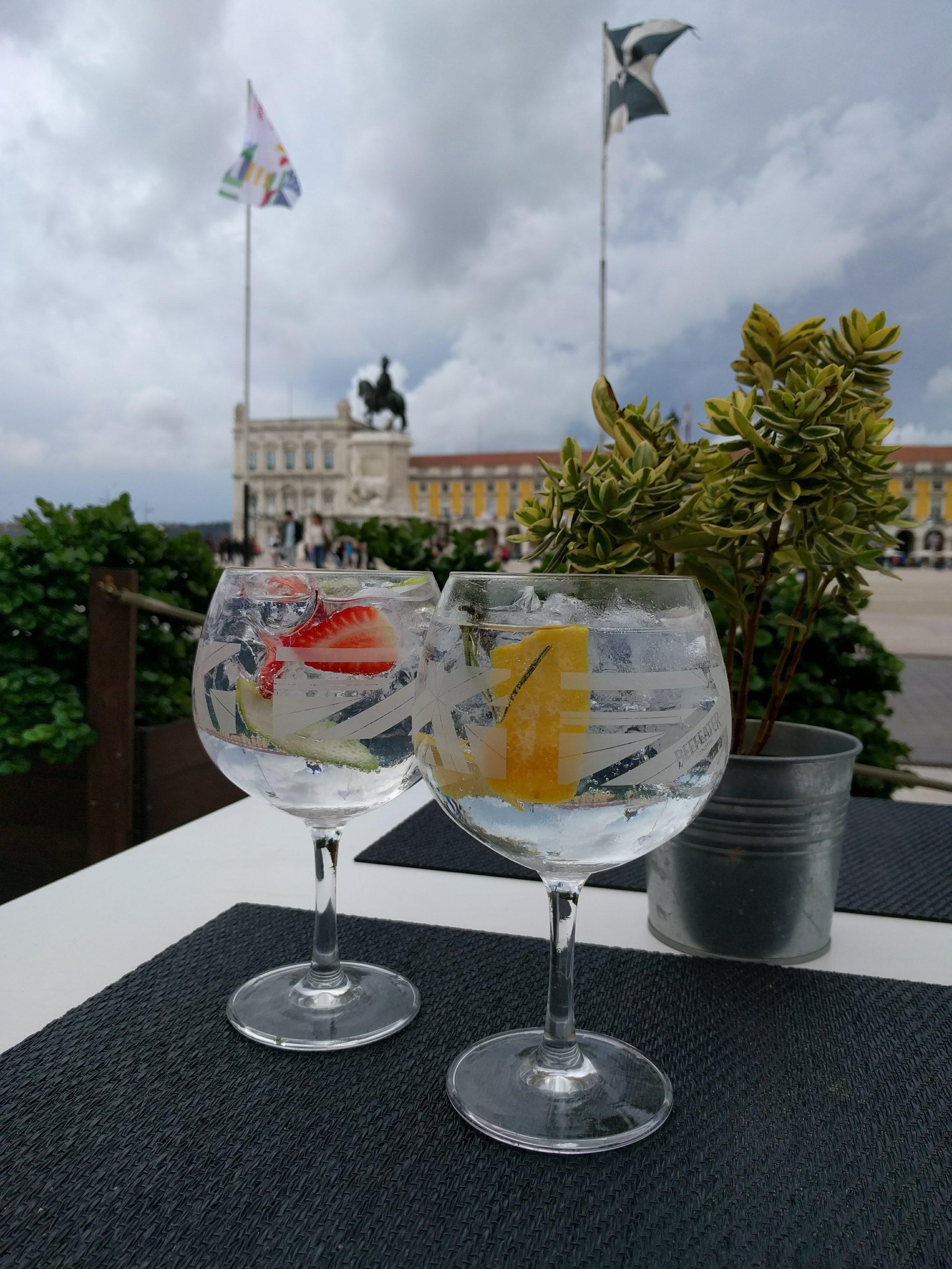 Drinking gin in Lisbon.