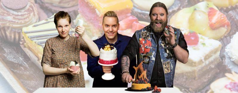 Tre tårtbedömmare till en tårttävling på en vegomässa! Karolina Tegelaar, Mattias Kristiansson och Rickard Söderberg!