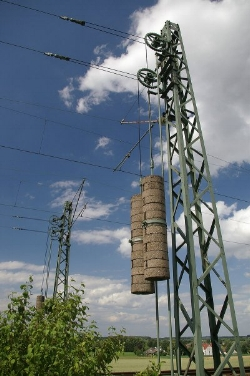 Typical Catenary wire tensioning system.
