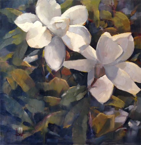 """No AC yet for the studio. They say """"soon"""". ? I paint in the morning and evening with a giant fan so not so bad.  This is the first piece on the easel since Spoleto, and thought it represented the 17 days in the park under the Magnolia tree.  Magnolias, 30x30 oil on board, gallery wrap$3400"""