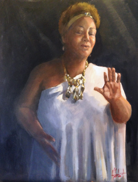 """This is the second piece of the small series of paintings done of Dr. Lori Hicks. She is an incredible person and vocalist that sang for the  Colour of Music Benefit  back in August. I was so inspired by her and wanted to paint her for my donation piece for the  Artists of Emanuel """"Straight from the Heart"""" Exhibition November 10 & 11.  """"She"""" will be available November 8th on www.bidr.com  30x24 oil on linen, framed, bidding starting at $1500 (All proceeds to benefit the Coastal Community Fund here in Charleston"""