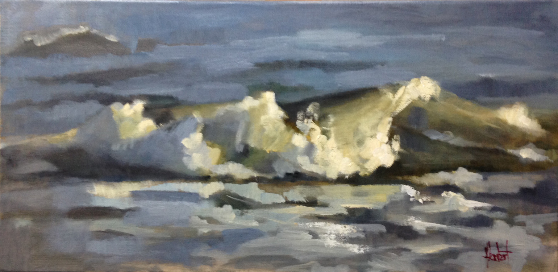 """I spent three days at Folly beach last week on my mini vacation. I wanted to paint the seas, walk on the beach, and sit by the water at sunsets. This piece is one of the ones I worked on from my deck. Sometimes the roll creates these transparent greens that are just wonderful to paint!  """"The Curl"""" 12x24 oil on linen $1800 for Christmas!"""