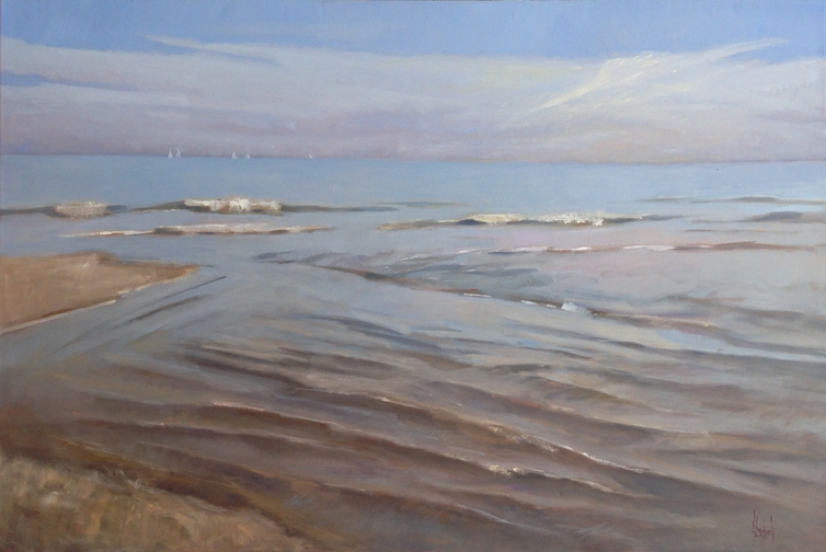 """""""Looking Out to Sea"""" 40x60 oil.  I'm painting for two upcoming shows: Piccolo Spoleto in Marion Square, and my Solo Show at the Principle Gallery, """"Life by the Sea"""". All the pieces will be featured starting May 26th, and the Opening reception at the Principle June 2nd. To say the least, my life has been in the studio painting, but the one above reminds of sticking my toes in the water - which makes me happy."""