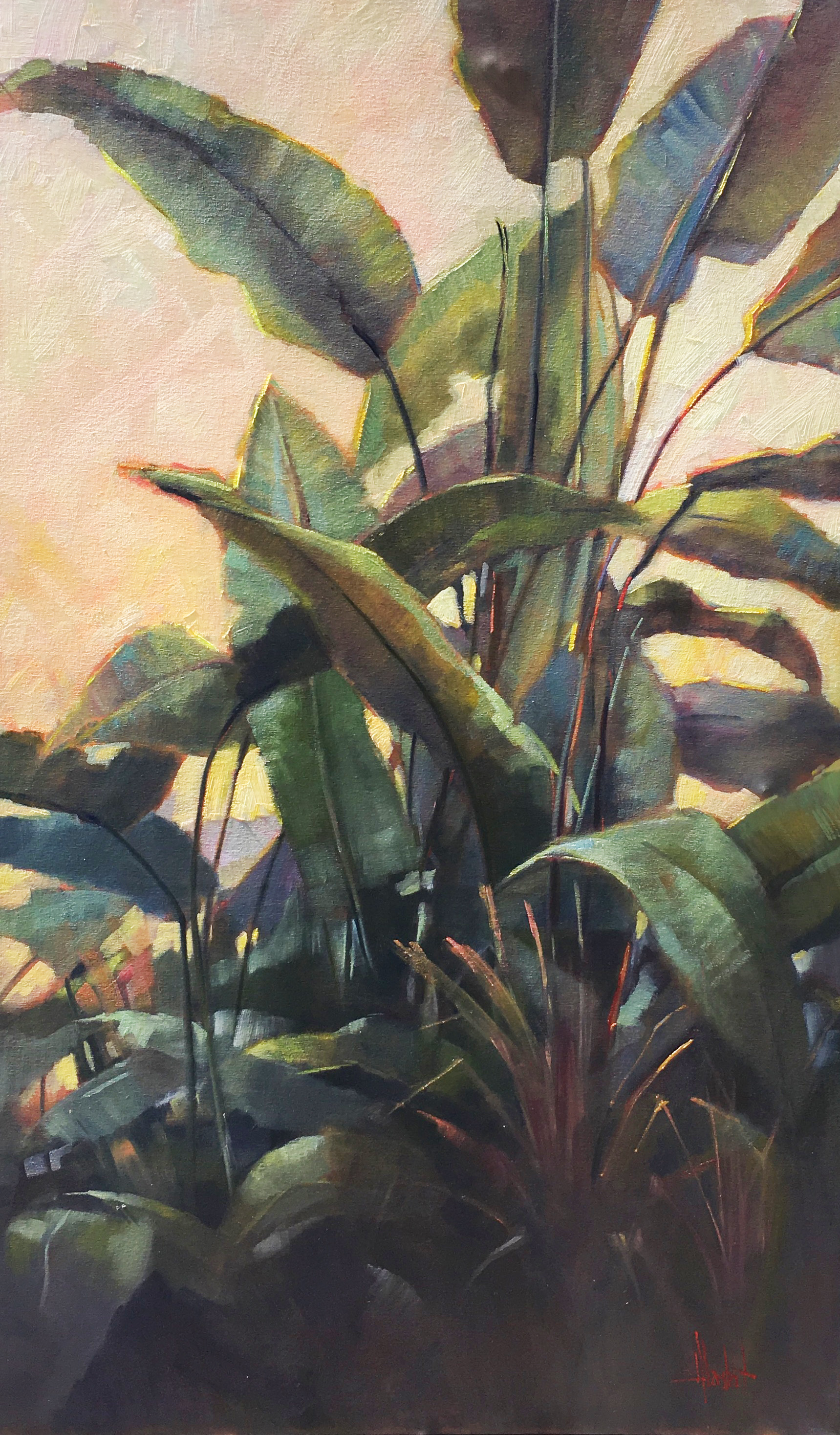 "Sometimes a painting just flows - you know the size, the color palette, the movement of the piece. ""Lush"" was one of those paintings. I knew when I saw the plant at the Botanical Gardens outside the Prado, that this was something I wanted to paint. And paint it really large.   60x36 oil on linen, gallery wrapped"