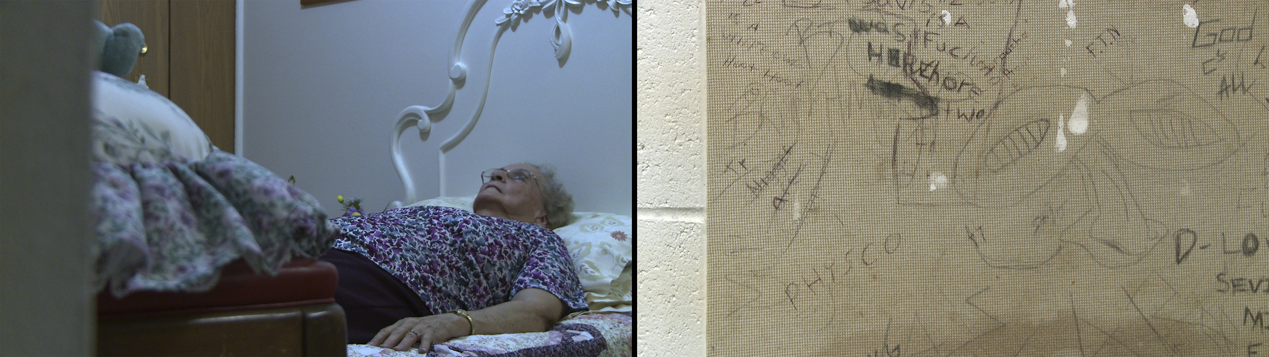 Still image from Natural Life; Reenactments in prison cell shot at an abandoned prison in Jackson, Michigan. On the left: Edith Marie Stone, Jennifer Pruitt's grandmother.