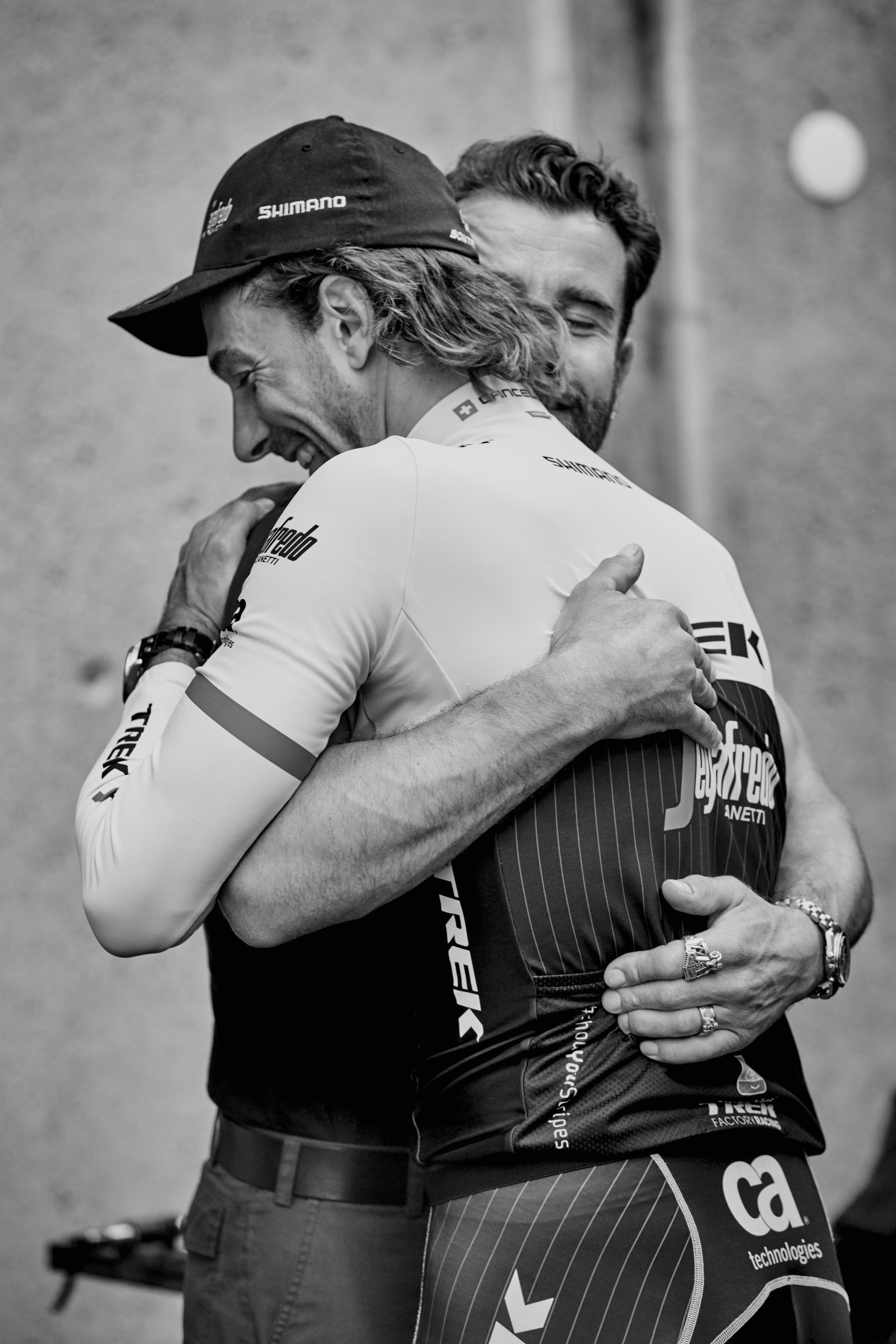 ... hugs his Mechanic Roger