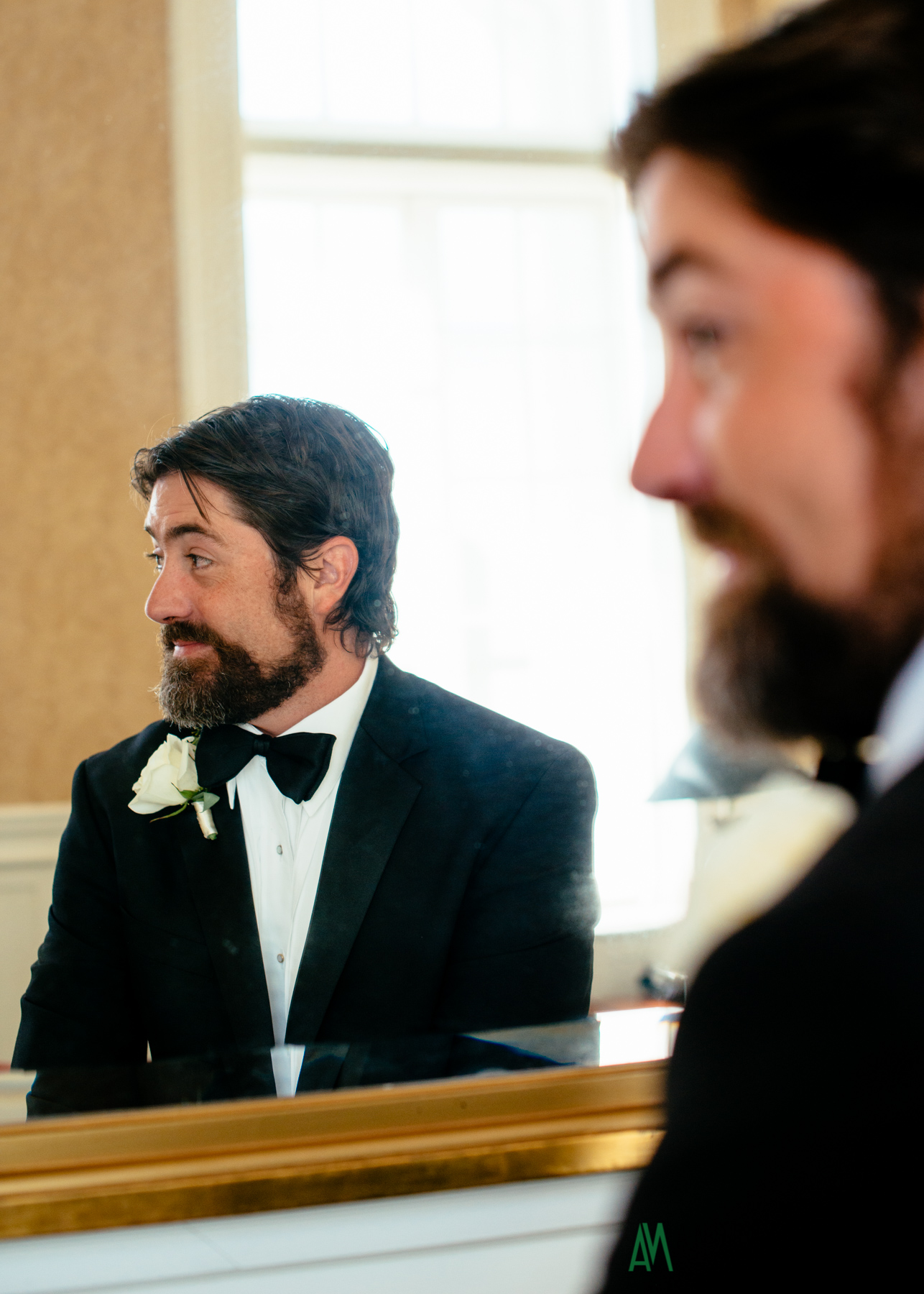 Groom Preparation at the History Museum of Mobile. Government Street Presbyterian Church Mobile Wedding. Andrea Mabry Photography.