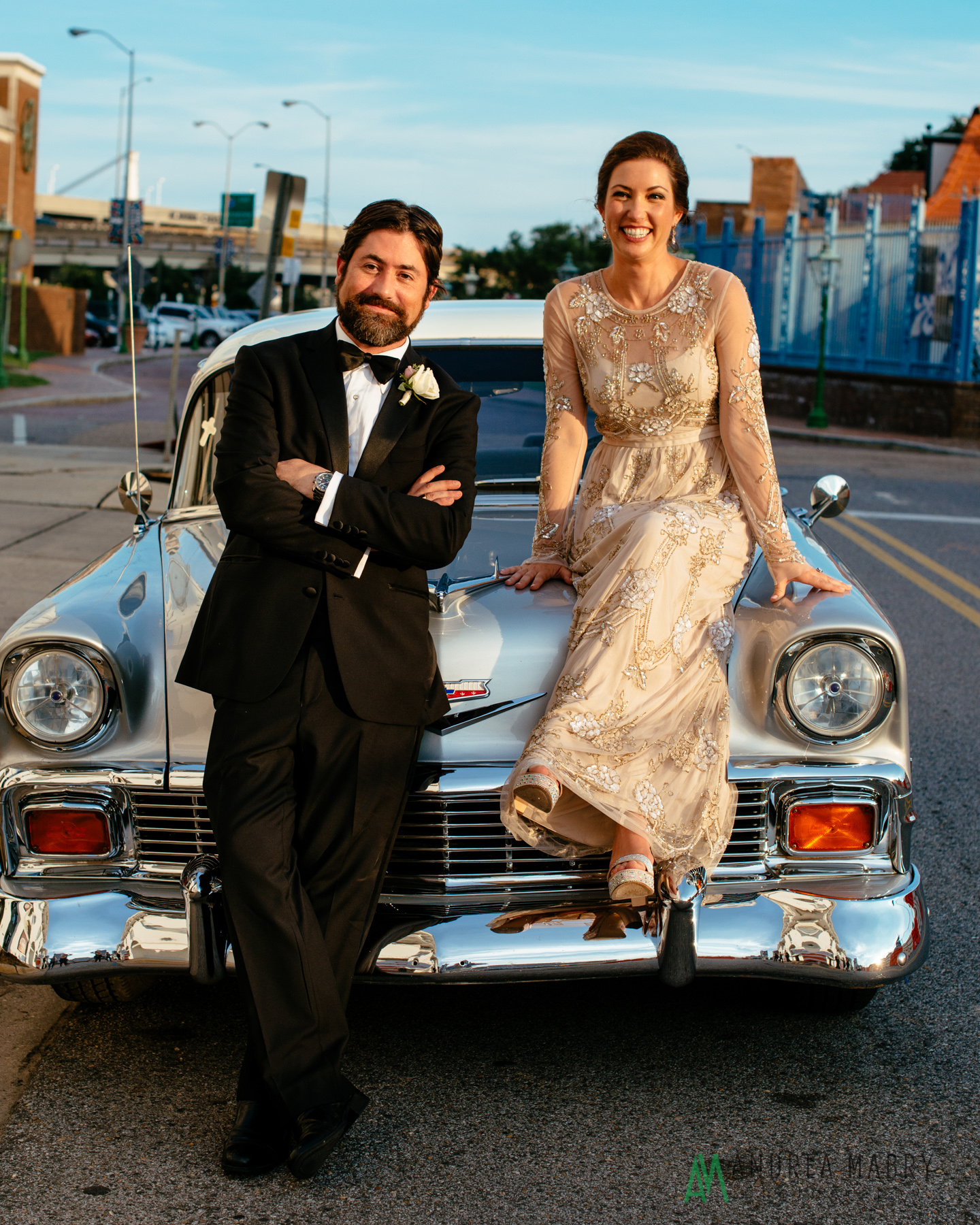 Chevrolet Bel Air at the History Museum of Mobile.  Government Street Presbyterian Church Mobile Wedding. Andrea Mabry Photography.