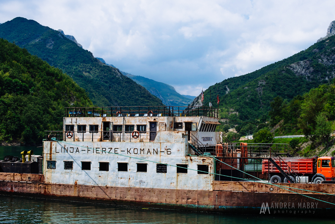 The old ferry, denoting its stops: Linja, Fierze, Koman.