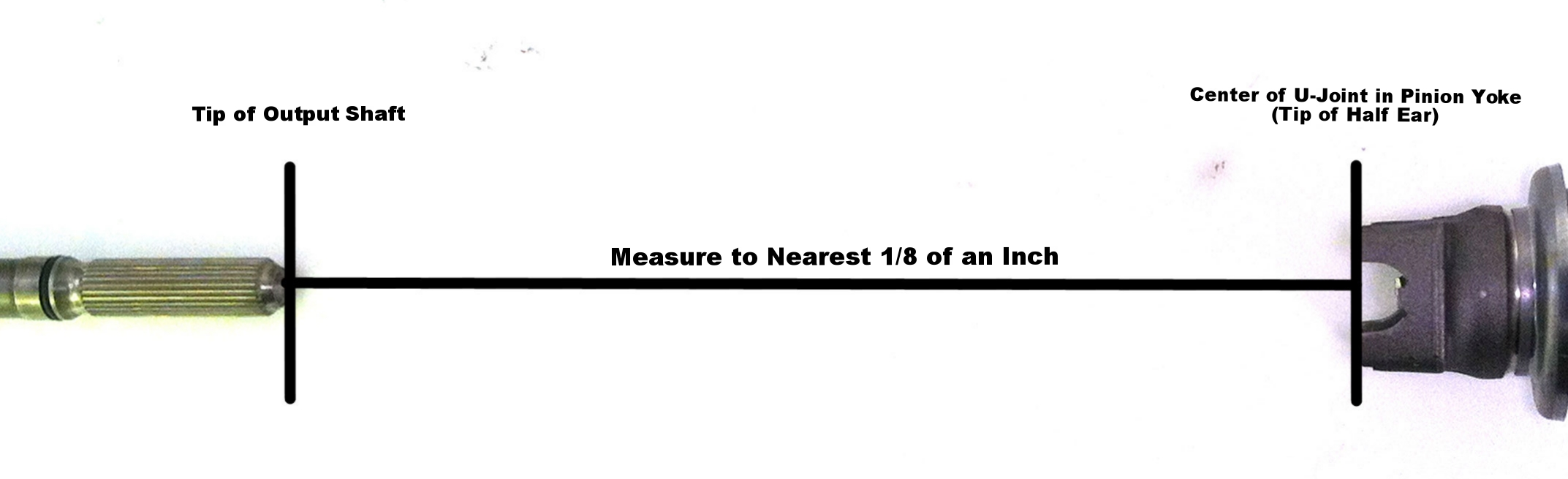 Measurement: Tip of Output Shaft to Center of U-Joint