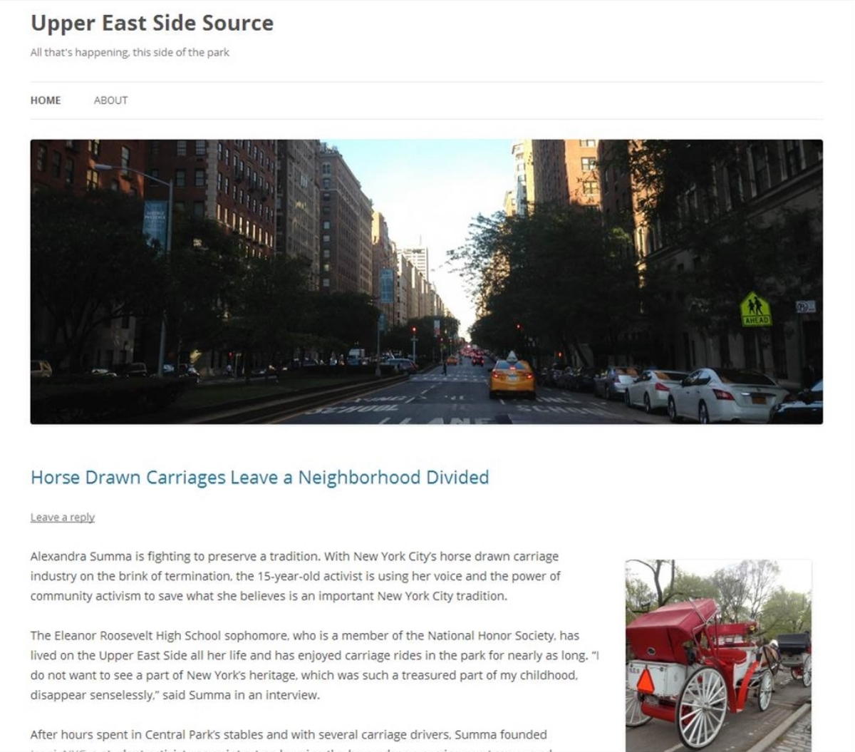 Click here to read the article in the Upper East Side Source