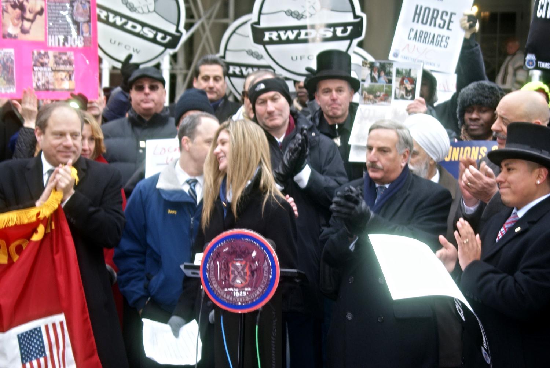 Alexandra Summa speaking at NYC City Hall