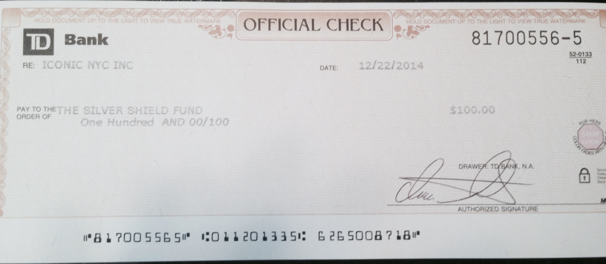 IconicNYC's donation to the Silver Shield Foundation. Small in $ size but represents 50% of our bank balance.