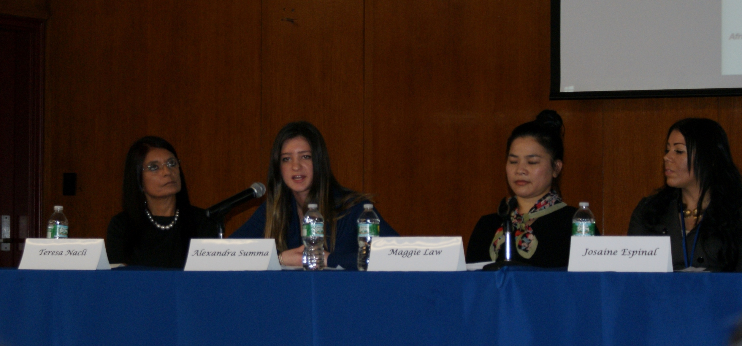 In the Hall of Social Justice with other panel members responding to a question on Women's Empowerment