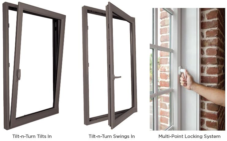 High quality European inspired dual operation high efficiency Tilt Turn windows