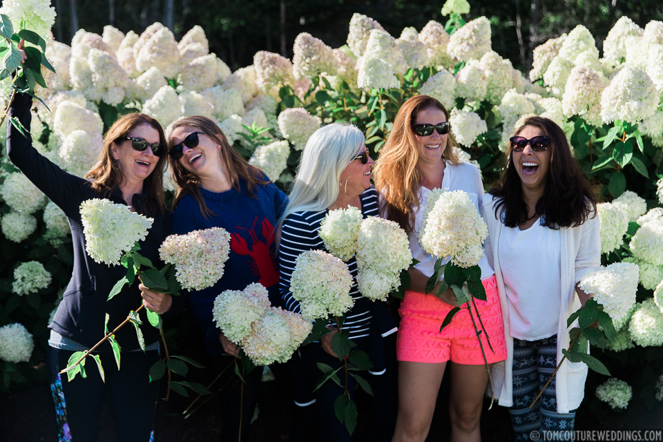 The following day I met up with the ladies while they were helping pick hydrangeas for the wedding.