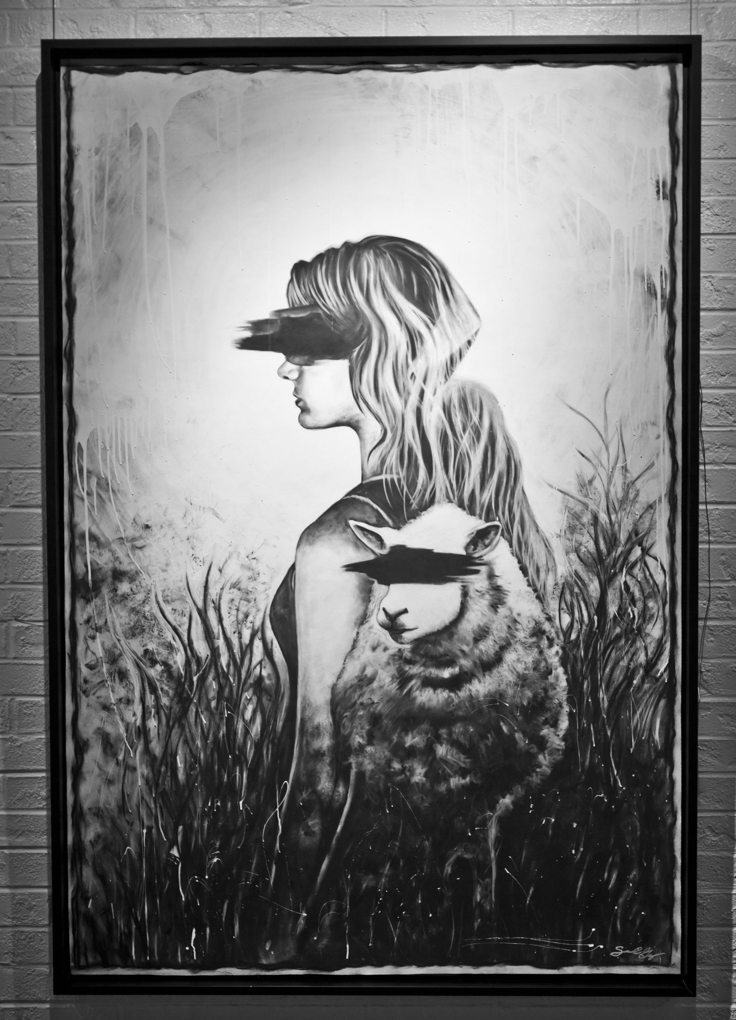 """Blinded Sheep"" 4x6 ft. Charcoal on Linoleum"