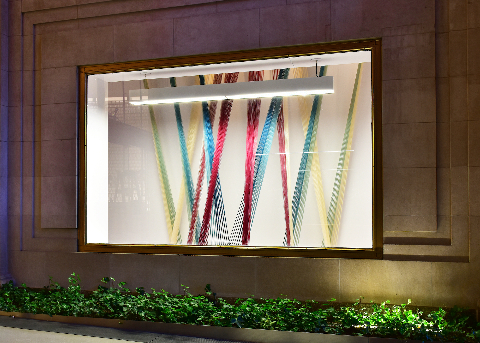 """2017  tencel, maple  150"""" x 124"""" x 59""""  Installed for a two-person exhibition at 200 Fifth Avenue, New York, NY."""
