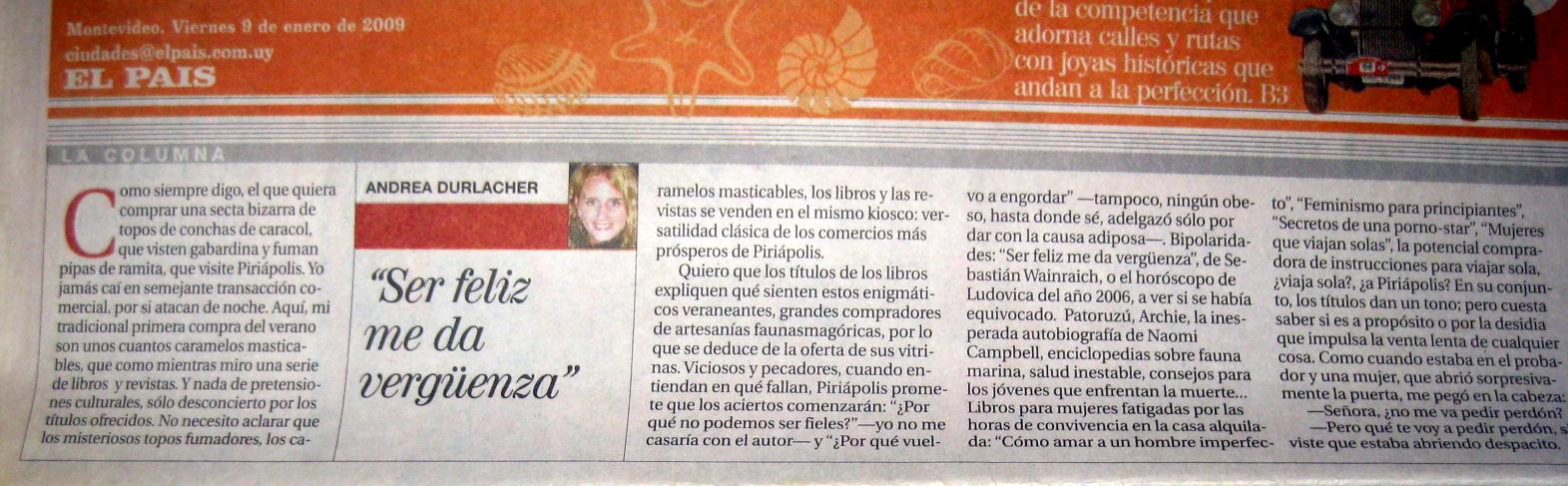 """""""Ser feliz me da vergüenza""""- Andrea Durlacher"""